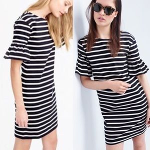 J.crew striped bell sleeve dress XS